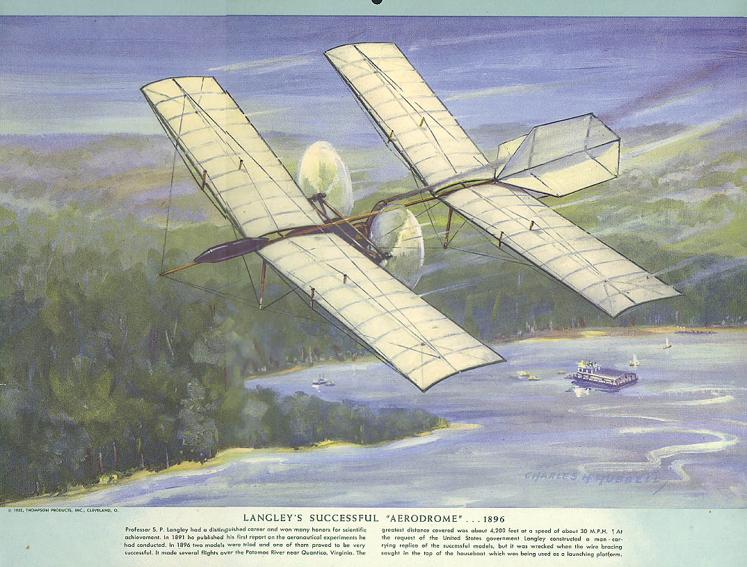 S P Langley's Successful Aerodrome Airplane 1896 Hubbell calendar print 1952
