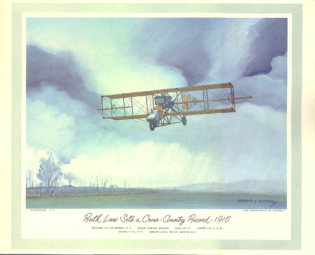 Ruth Law Cross Country Record Curtiss Biplane 1916 Hubbell calendar print 1954