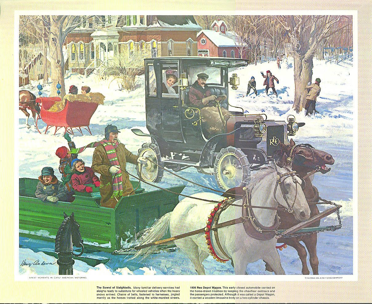 1906 Reo Depot Wagon & horse-drawn sleighs Humble Oil calendar print 1960s