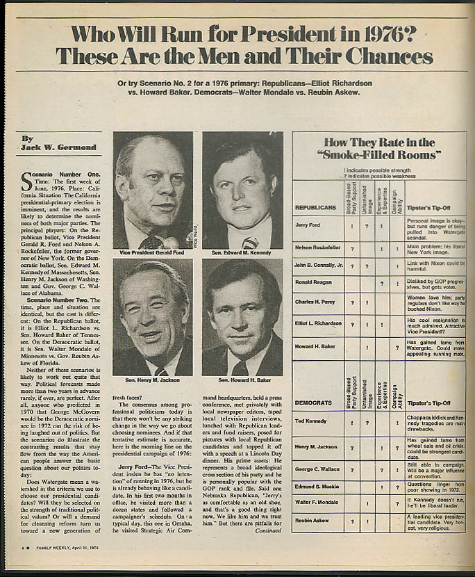 FAMILY WEEKLY 1976 Presidential Election outlook Jerry Ford et al 4/21 1974