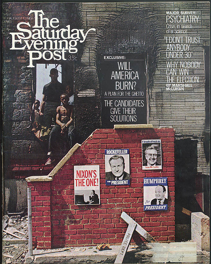SATURDAY EVENING POST McLuhan Richeys HAIR Will Ghetto Burn? Shankar 8/10 1968