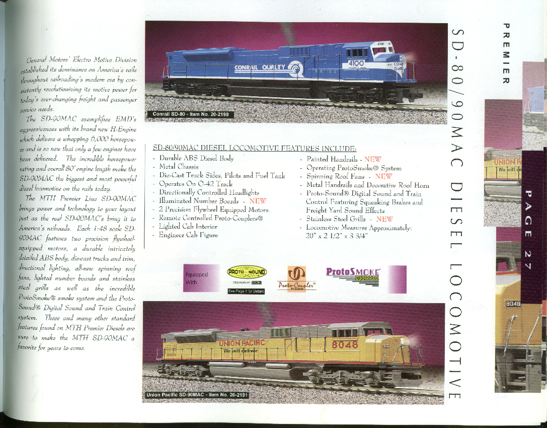 MTH M T H Electric Trains Catalog 1998 Volume III O Scale