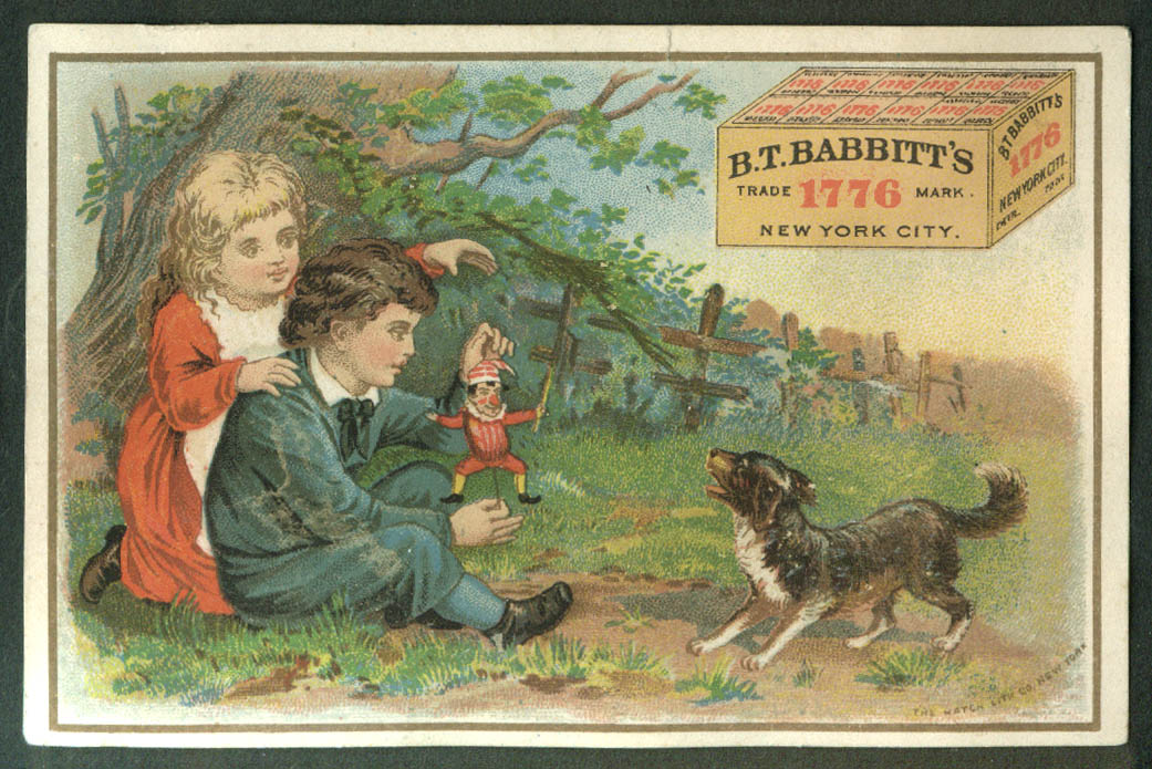 B T Babbitt's 1776 Yeast trade card 1880s boy girl dog harlequin toy