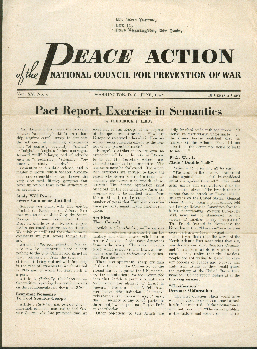 PEACE ACTION of National Council for Prevention of War 6 1949: UN Pact Semantics