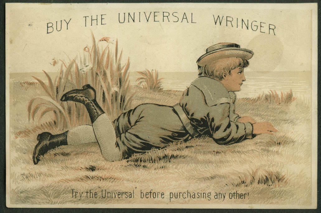 Buy the Universal Wringer trade card 1880s boy lays on seaside bluff