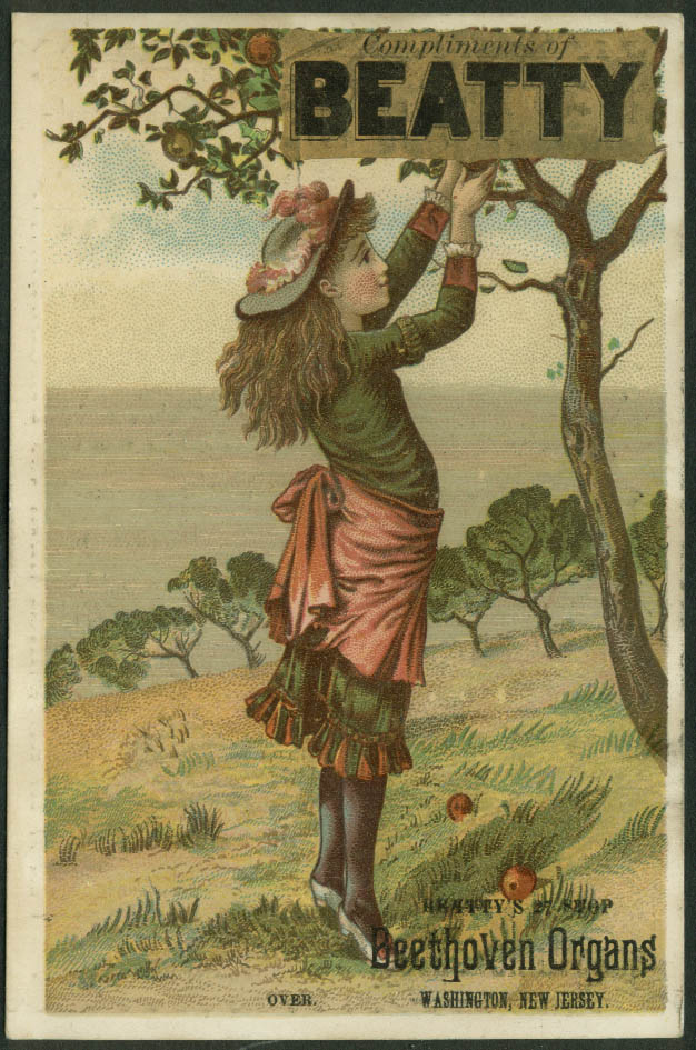 Beatty Beethoven 27-stop Organs Washington NJ trade card girl apple orchard