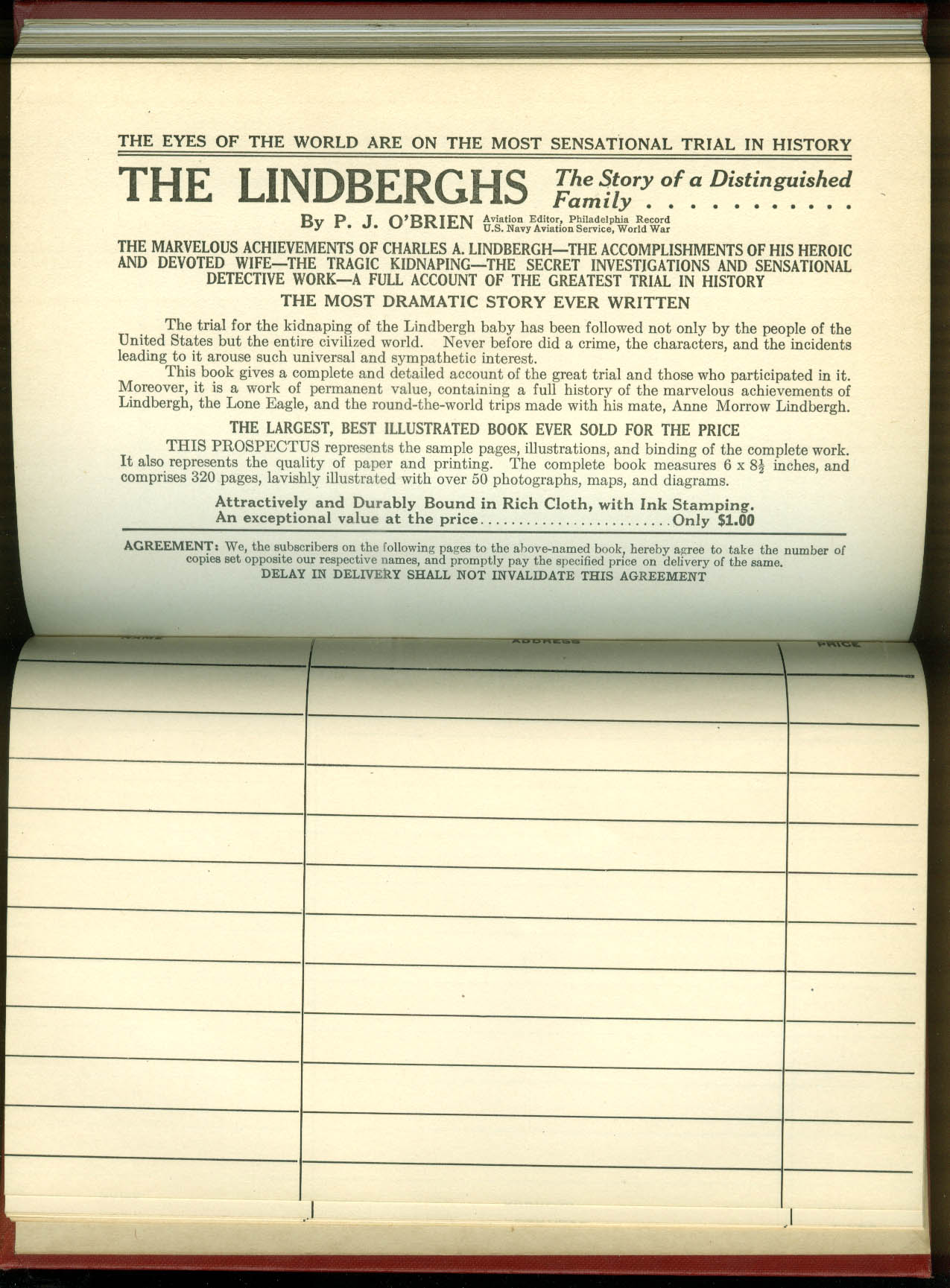 The Lindberghs Story of a Distinguished Family publisher's prospectus 1935