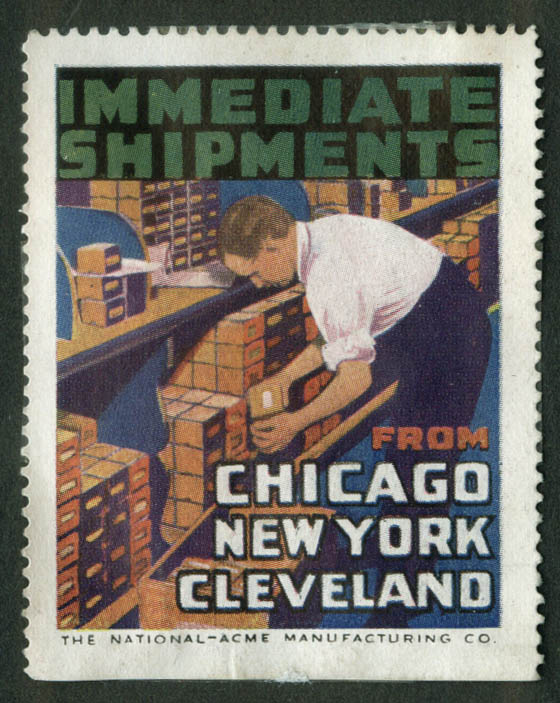 National-Acme Screw cinderella stamp 1910s Immediate Shipment from NY Chicago