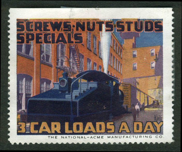 Image for National-Acme cinderella stamp 1910s Screws Nuts Studs Specials 3 Car Loads Day