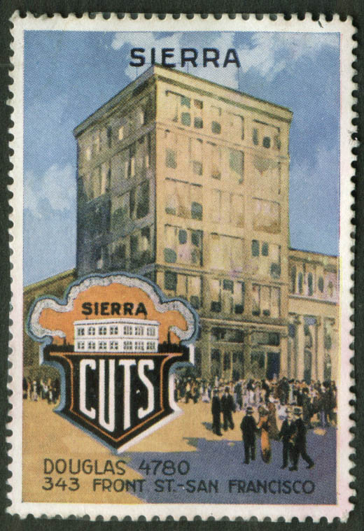 Image for Sierra Printing Cuts San Francisco cinderella stamp 1910s building front