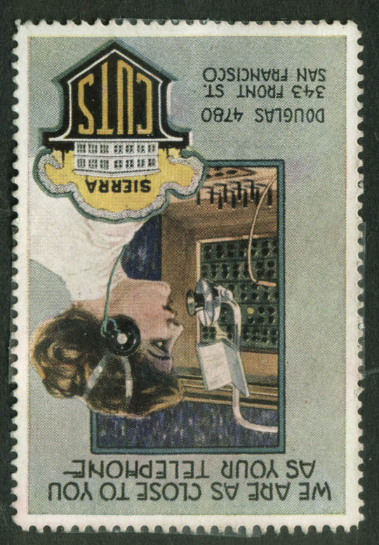 Sierra Printing Cuts Close as Your Telephone cinderella stamp 1910s switchboard