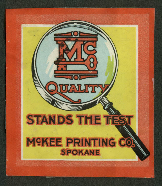 McKee Printing Spokane cinderella stamp 1910s Stands the Test magnifying glass