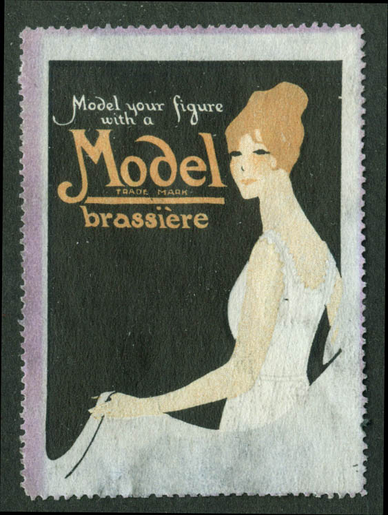 Model Your Figure with a Model Brassiere cinderella stamp 1910s redhead