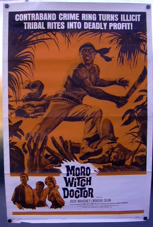 Jock Mahoney Margia Dean in Moro Witch Doctor movie poster 1964