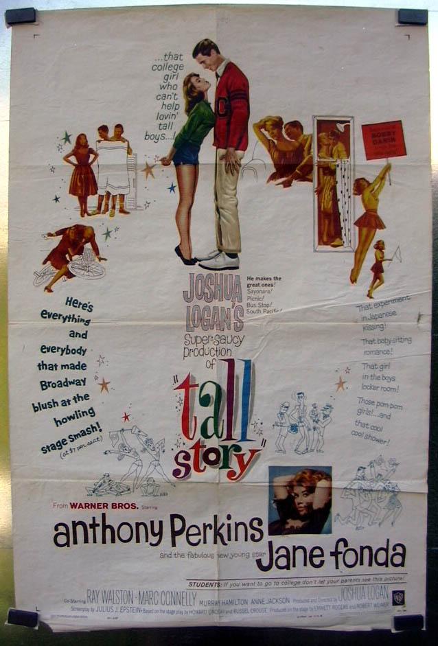 Anthony Perkins Jane Fonda in Joshua Logan's Tall Story poster 1960 Bobby Darin