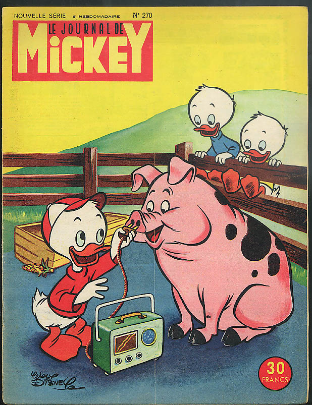 JOURNAL de MICKEY Mouse 7/28 1957: Huey Dewey Louie Donald Duck Bad Wolf