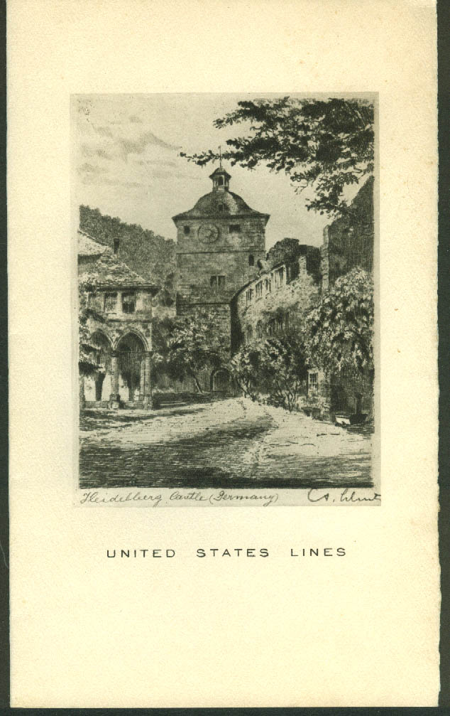 United States Lines S S Washington Dinner Menu 7/31 1936 Heidelberg Castle