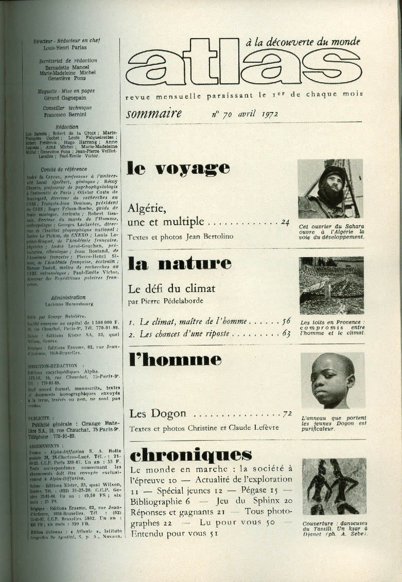 Air France ATLAS in-flight magazine 4 1972: Algeria; Les Dogon