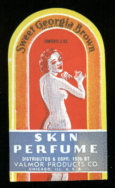 Sweet Georgia Brown Skin Perfume Valmor Products bottle label 1936 Negro