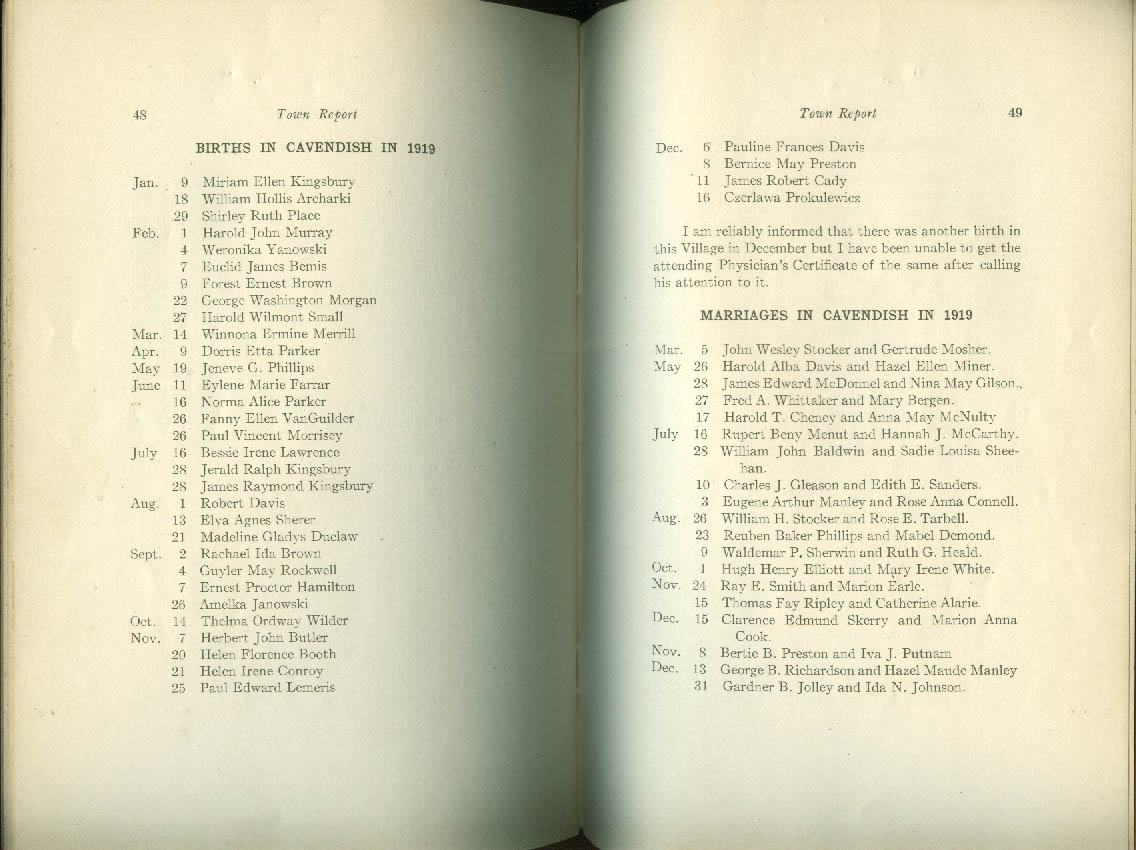 Annual Report of Cavendish VT 1920 with births, deaths & marriages