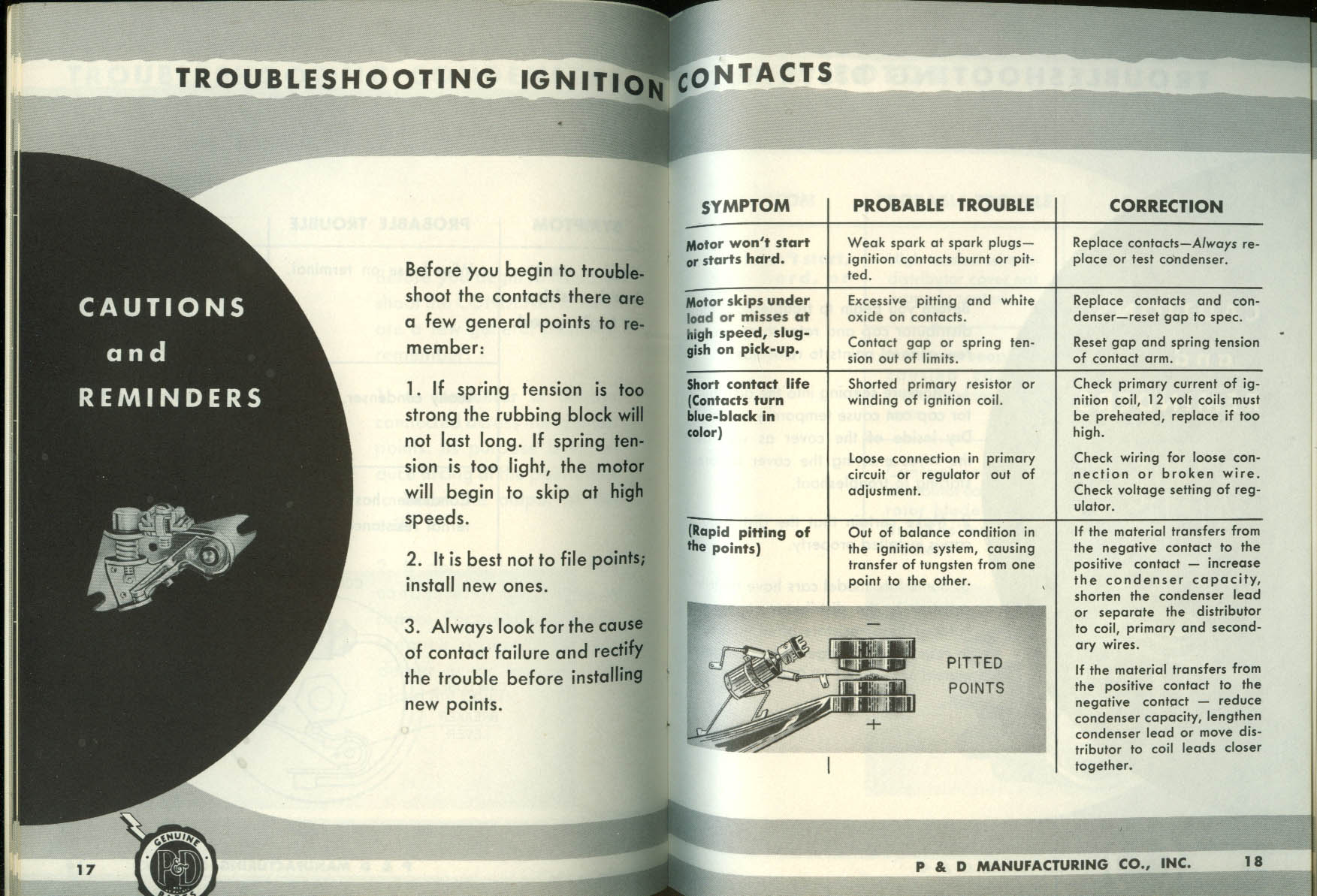 P&D Ignition: Trouble Shooting The Ignition System: Causes & Cures booklet 1950s