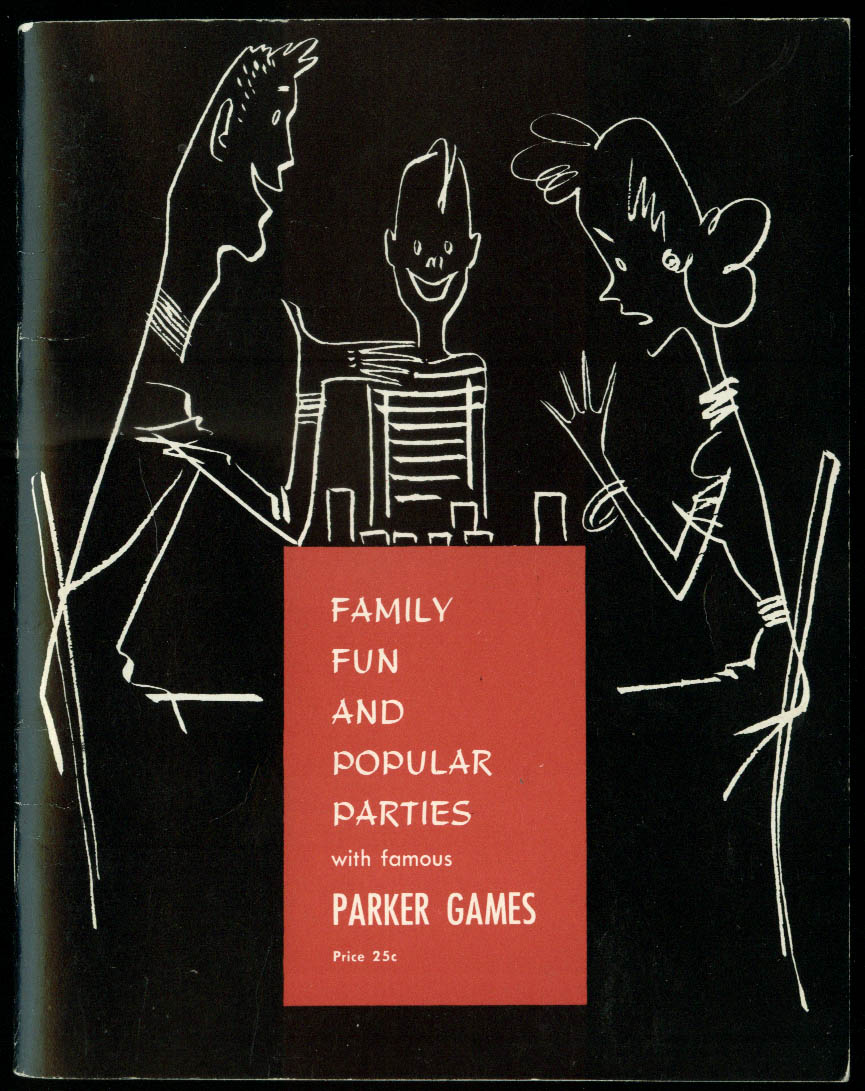 Parker Games Family Fun & Popular Parties booklet 1962 Star Reporter Risk ++
