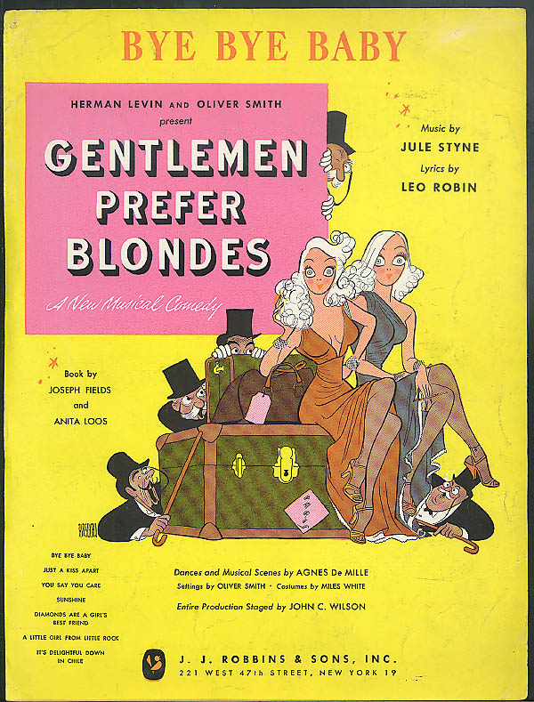 Bye Bye Baby sheet music Gentlemen Prefer Blondes 1949 Hirschfeld art