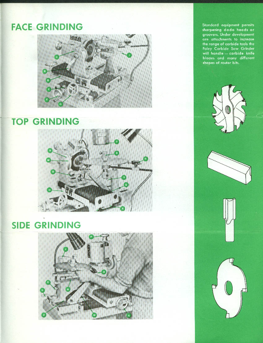 Foley Carbide Saw Grinder sales folder 1965