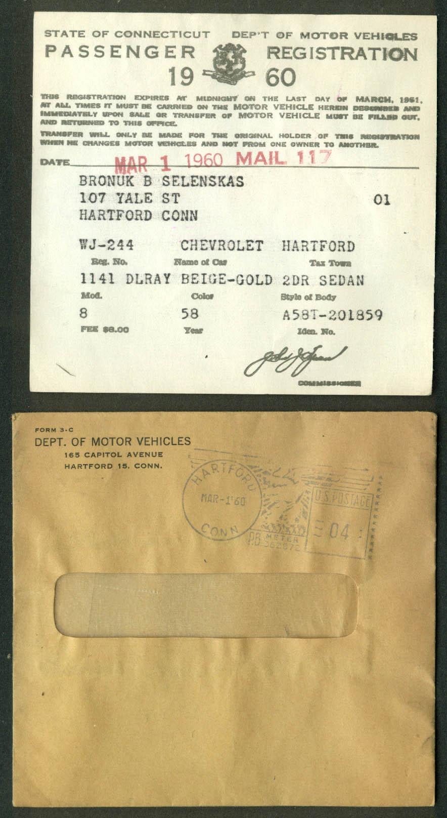 1958 Chevrolet Delray 2-door sedan Connecticut Registration 1960