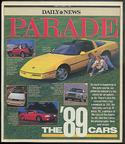 PARADE 10/2 1988: 1989 cars; Joe Garagiola; convertibles are back +