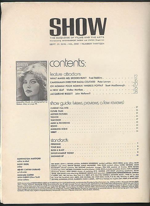 SHOW 9/17 1970: Jacqueline Bisset Mel Brooks George Segal Walter Matthau