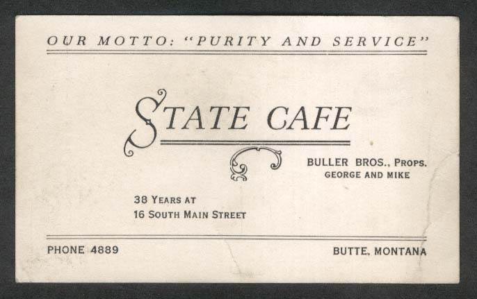 State Café Butte MT business card George & Mike Buller ca 1940s