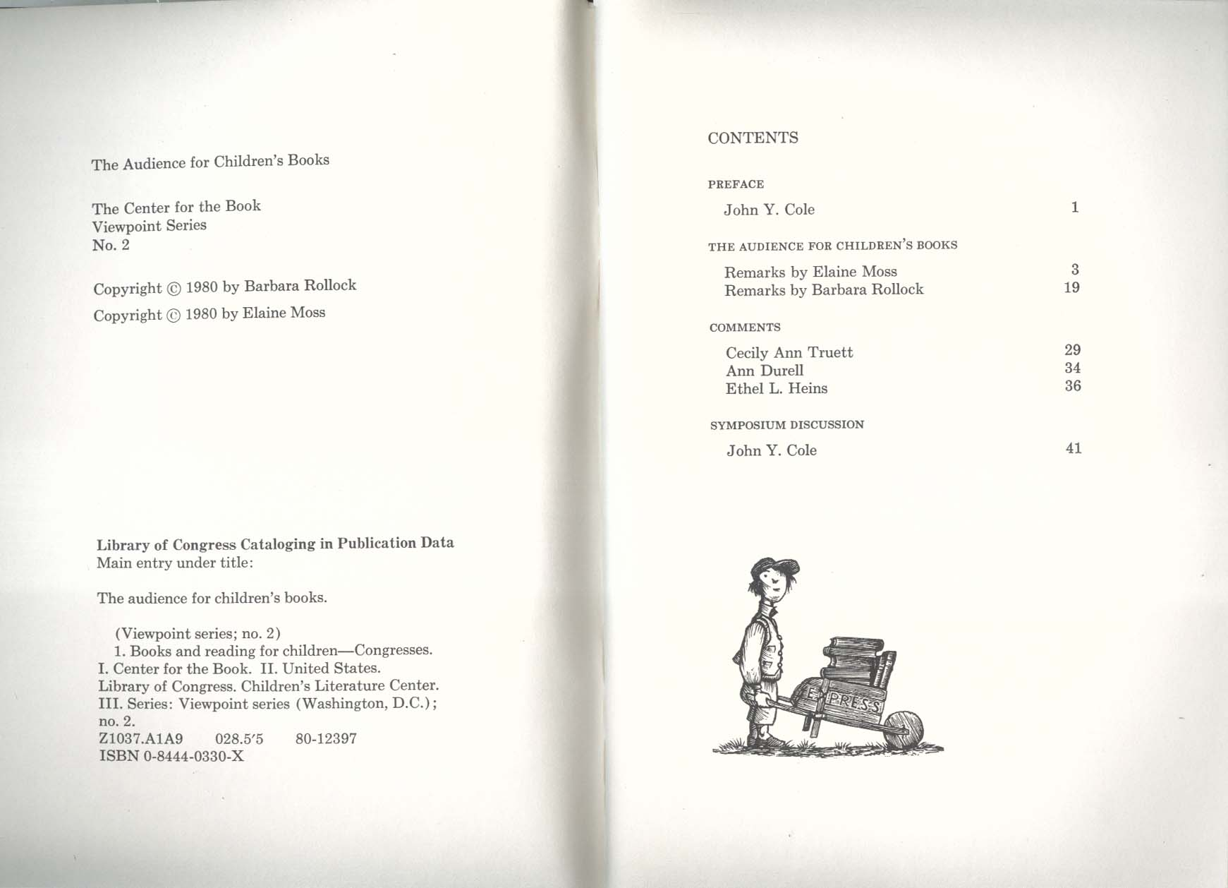 Audience for Children's Books: Center for the Book Symposium 1979