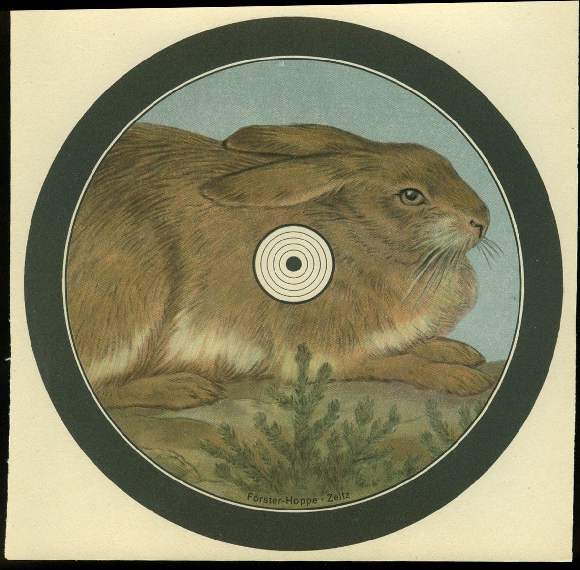 Rabbit or Hare shooting target German chromolithograph Forster-Hoppe Zeitz 1930s