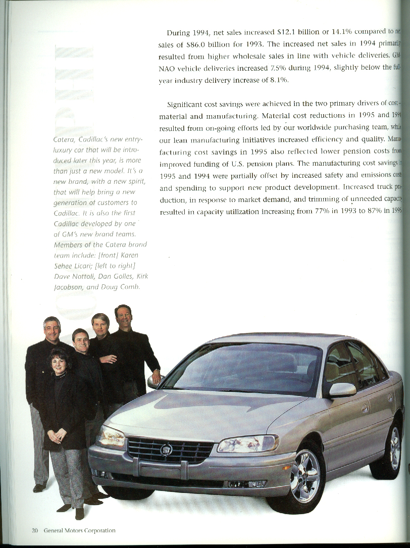General Motors Annual Report 1995 Catera LeSabre Grand Prix GT +