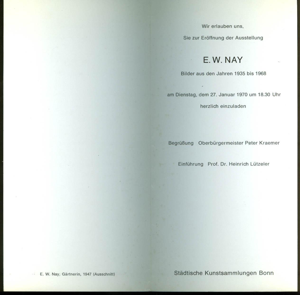 Ernst Wilhelm Nay exhibit invitation Stadtische Kunstsammlungen Bonn 1970