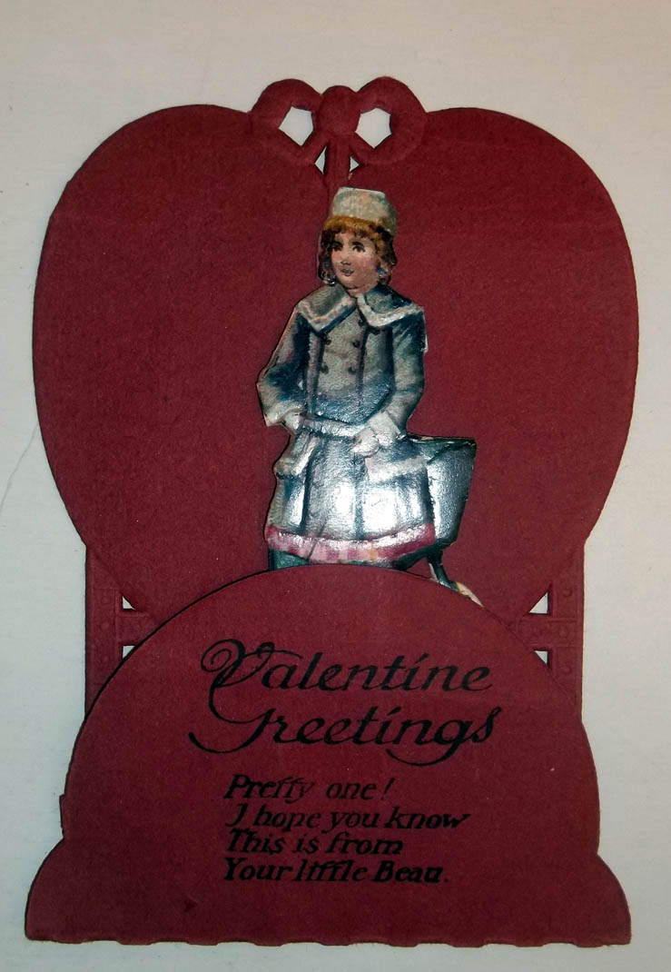 Valentine Greetings from your little beau Victorian stand-up card 1890s