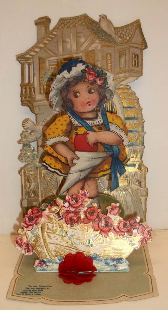 My Valentine Victorian stand-up girl doves waterwheel 1890s