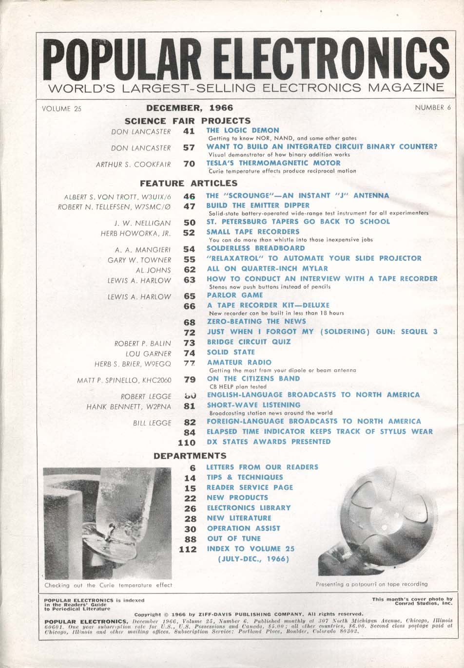 POPULAR ELECTRONICS Slide Projector J Antenna Emitter Dipper Short-Wave 12 1966
