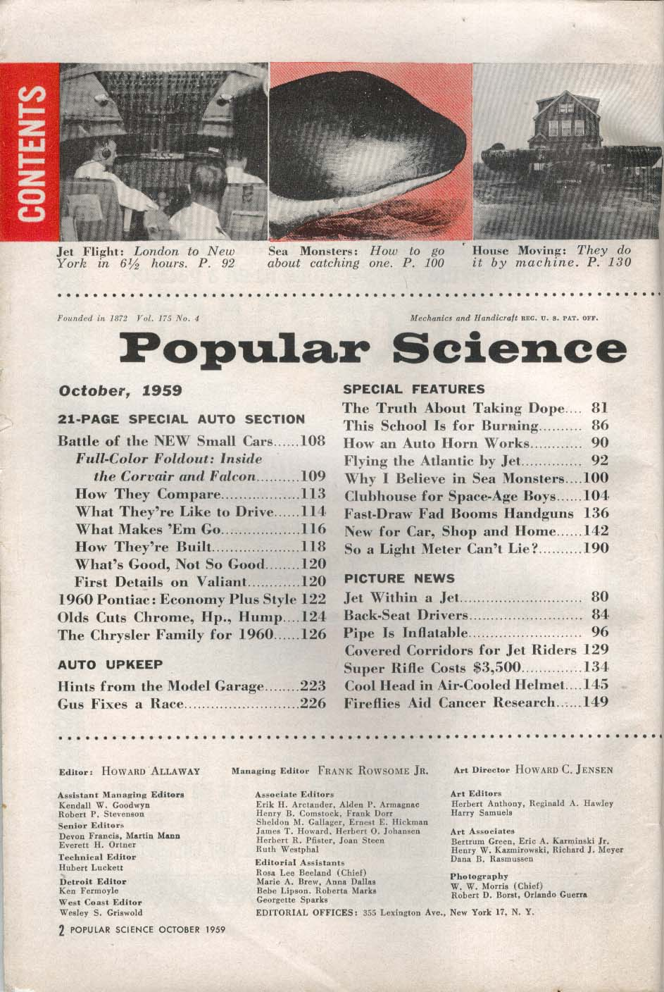 POPULAR SCIENCE Chevrolet Corvair Ford Falcon Plymouth Valiant Pontiac + 10 1959