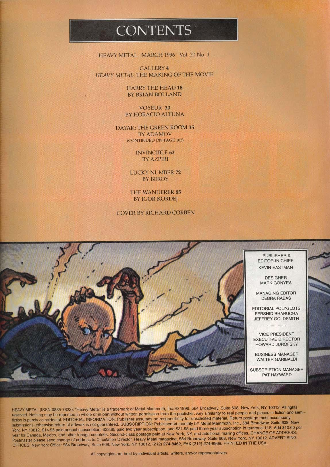 HEAVY METAL Adamov Dayak Richard Corben Azpiri Horatio Altuna Igor Kordej 3 1996