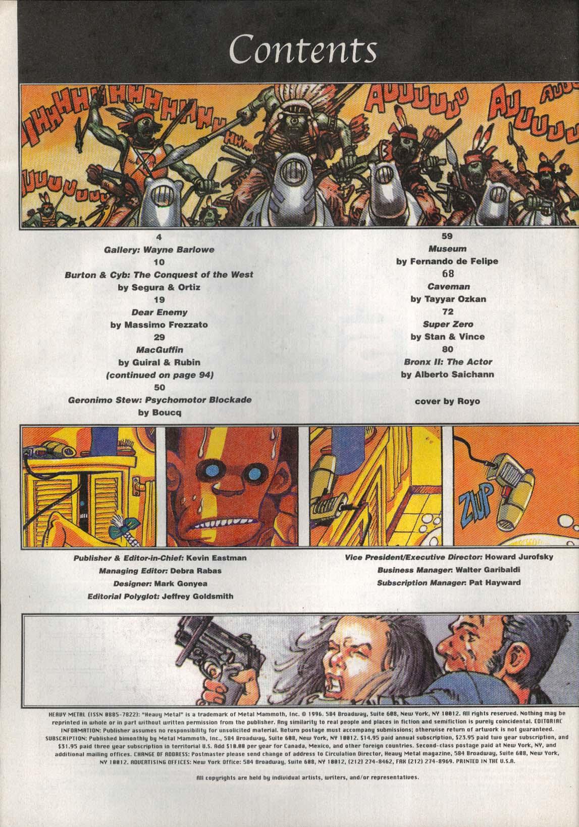 HEAVY METAL Frezzato Segura & Ortiz Boucq Royo Tayyar Ozkan Stan & Vince 1 1996