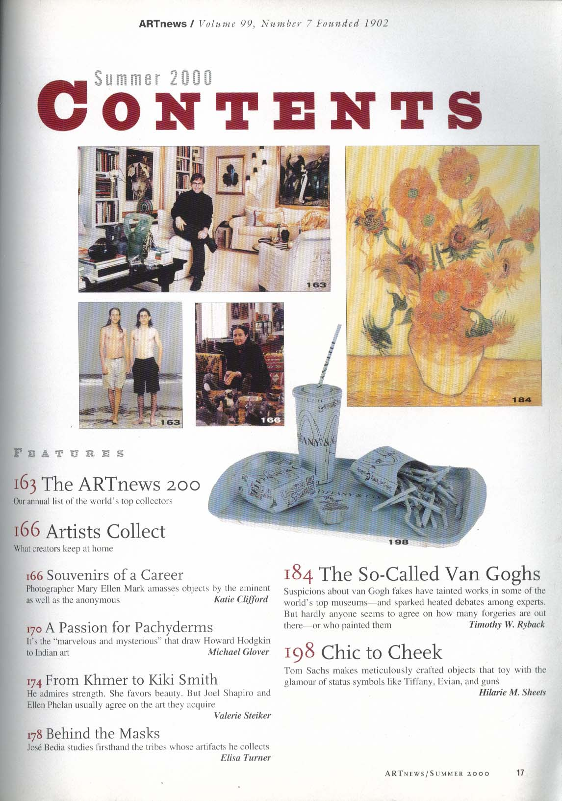 ARTnews Van Gogh Forgeries Agnes b Tom Sachs Pat Steir Kiki Smith Summer 2000