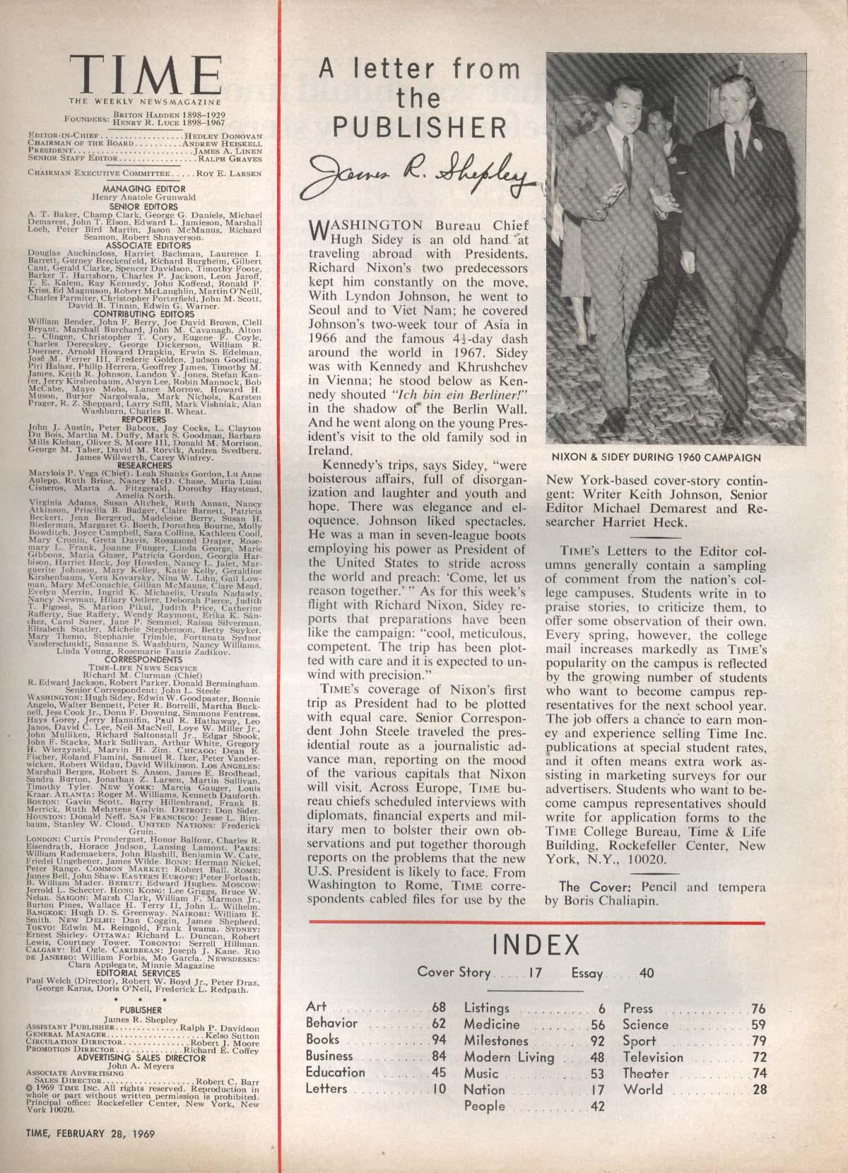 TIME Nixon Black Power Pakistan Ayub Kallia Refugees Israel Occupation 2/28 1969