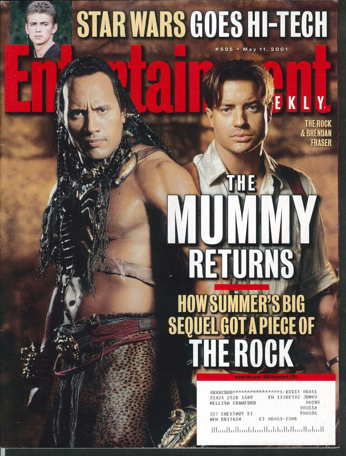 ENTERTAINMENT WEEKLY #595 Mummy Returns Rock Brendan Fraser Star Wars 5/11 2001