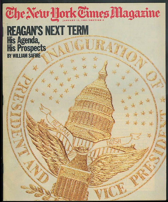 NEW YORK TIMES MAGAZINE Safire Reagan Robert A M Stern NRO Satellites 1/13 1985