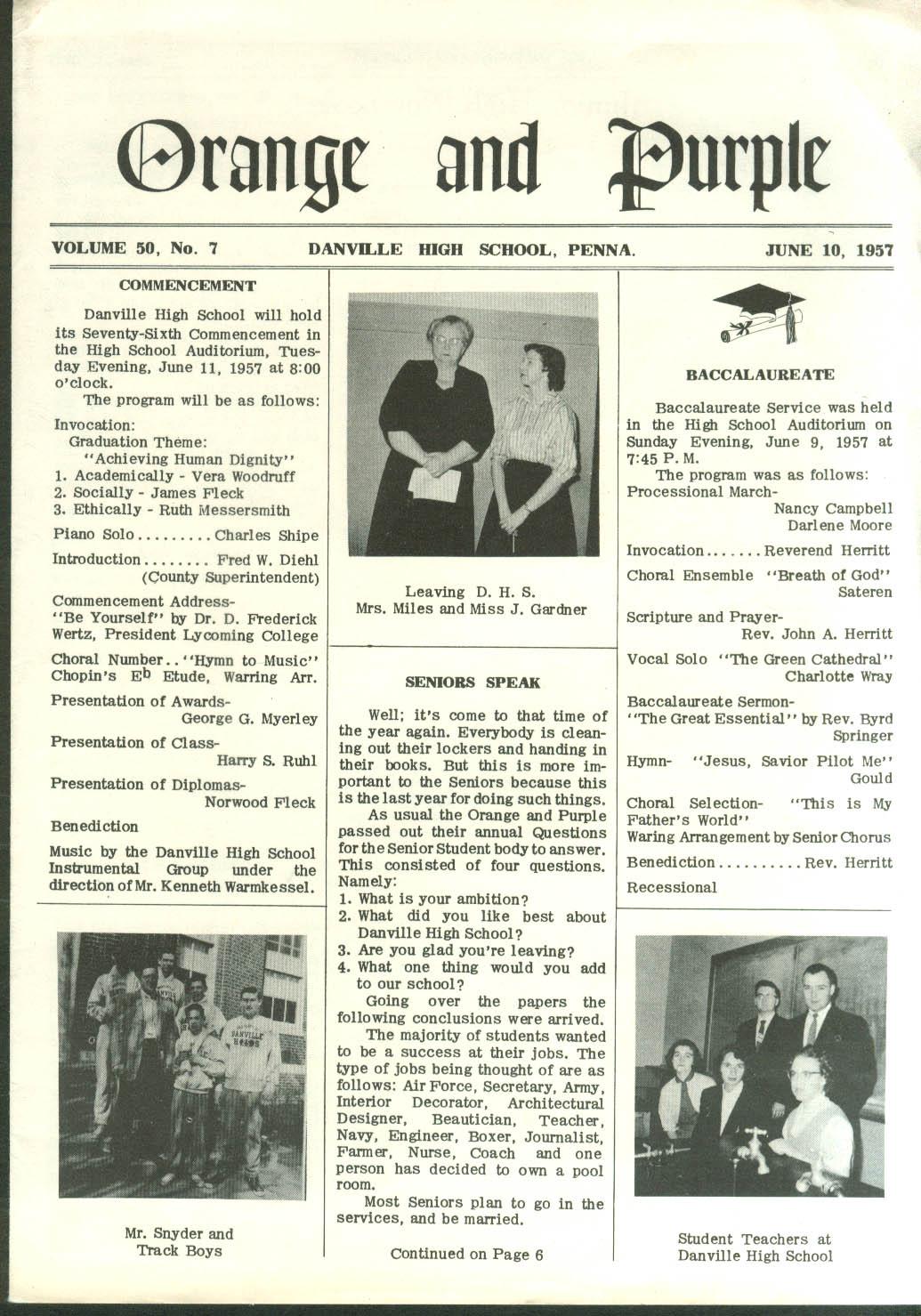 Danville High School ORANGE & PURPLE news 6/10 1957 Danville PA