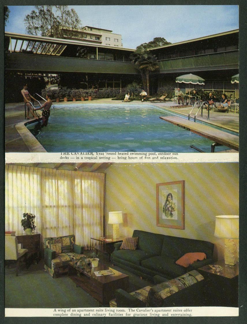 Cavalier Hotel & Apartments Los Angeles CA folding postcard 1950s
