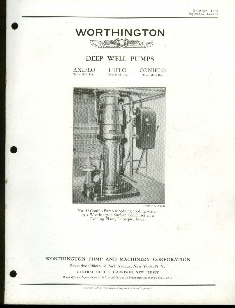 Worthington Deep Well Pumps Axiflo Hiflo Coniflo Bulletin Catalog 11 1930