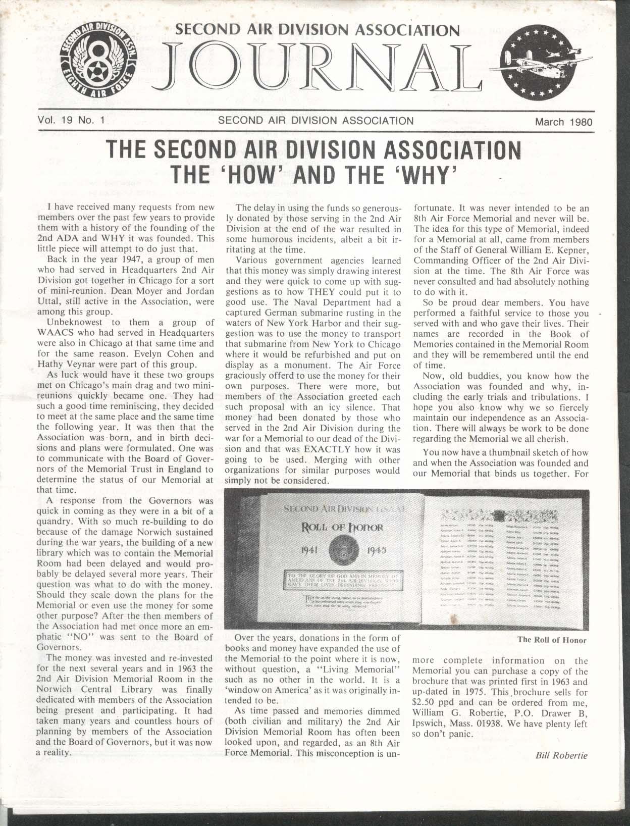 2nd Air Division Journal 8th Air Force Vol 19 #1 Harry Dane CK Pool 3 1980
